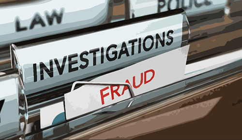 "file folders that read ""law"" ""investigations"" and ""fraud"" - unemployment insurance EDD fraud is a crime in California"