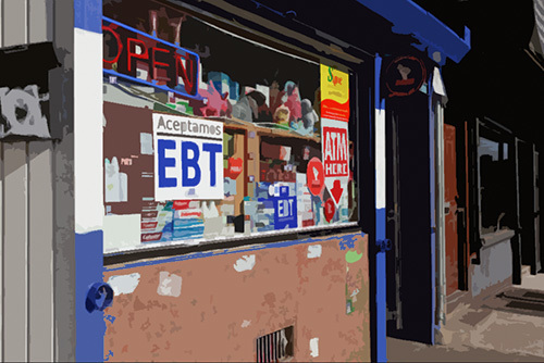 """Retain storefront with sign that says """"aceptamos EBT"""""""
