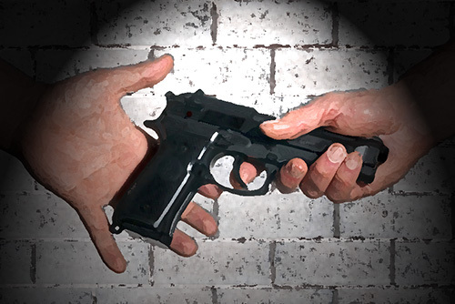 men exchanging a gun in jail, a potential violation of Penal Code 4502 PC