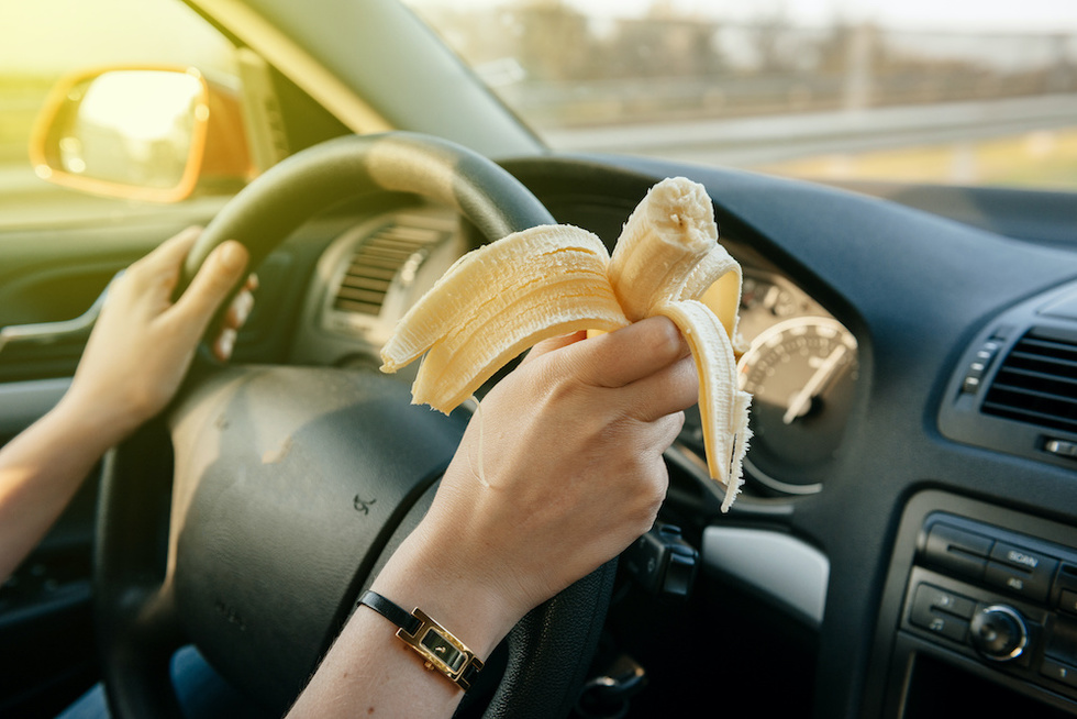 distracted driving banana eating
