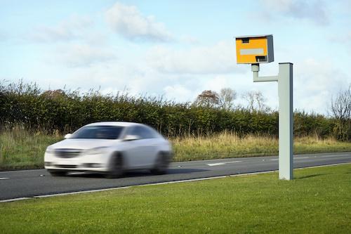 White Car Speeding
