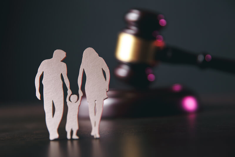 Bigstock family figure and gavel on tab 287814475