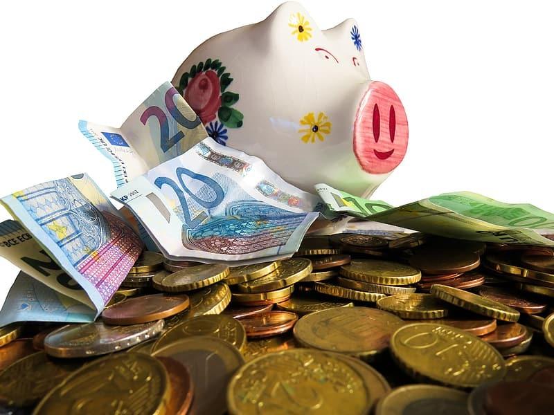 White ceramic pig figurine beside coins and white ceramic floral vase