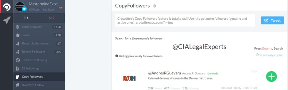 Crowdfire copy follower tool