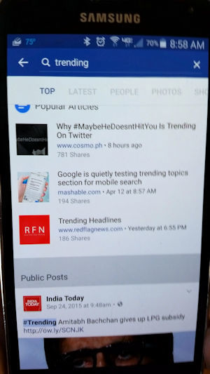 Facebook trending topics on cell phone