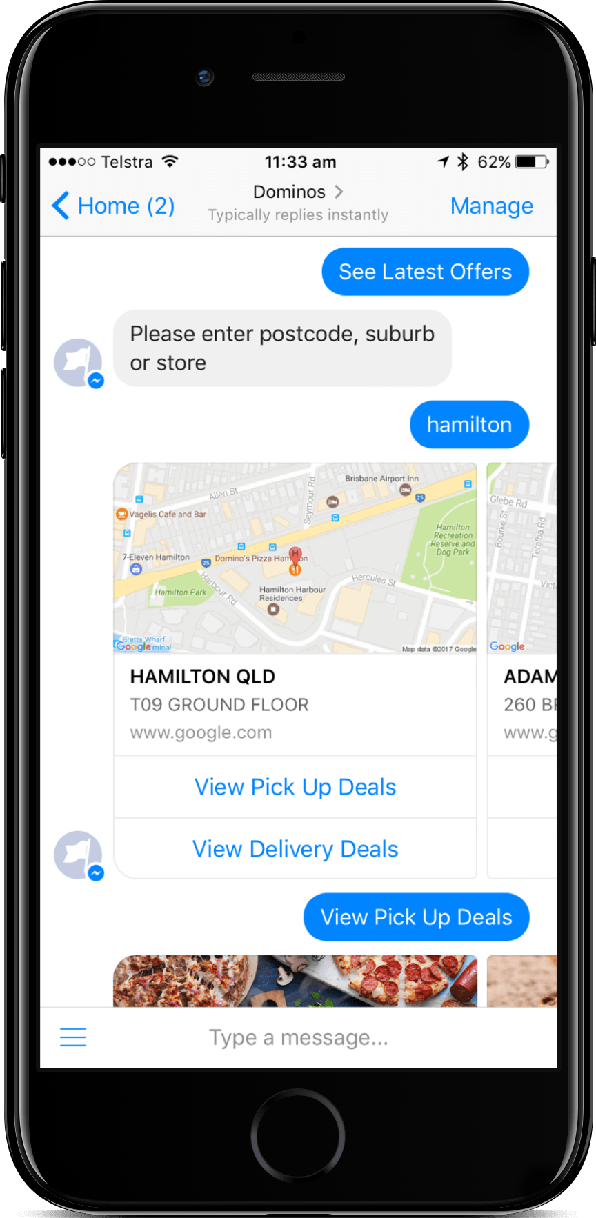 Domino's pizza Facebook Messenger chatbot