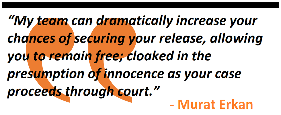"""My team can dramatically increase your chances of securing your release, allowing you to remain free; cloaked in the presumption of innocence as your case proceeds through court. """