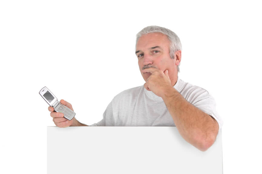 Uncertain guy with cell phone