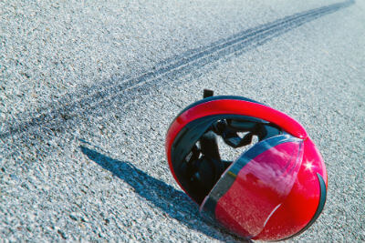 motorcycle death next to helmet in Santa Ana