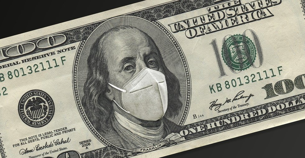 $100 bill with Franklin in COVID mask