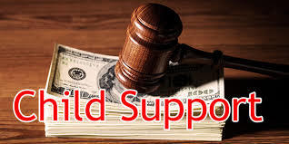 "Image of money with gavel and words ""child support"""