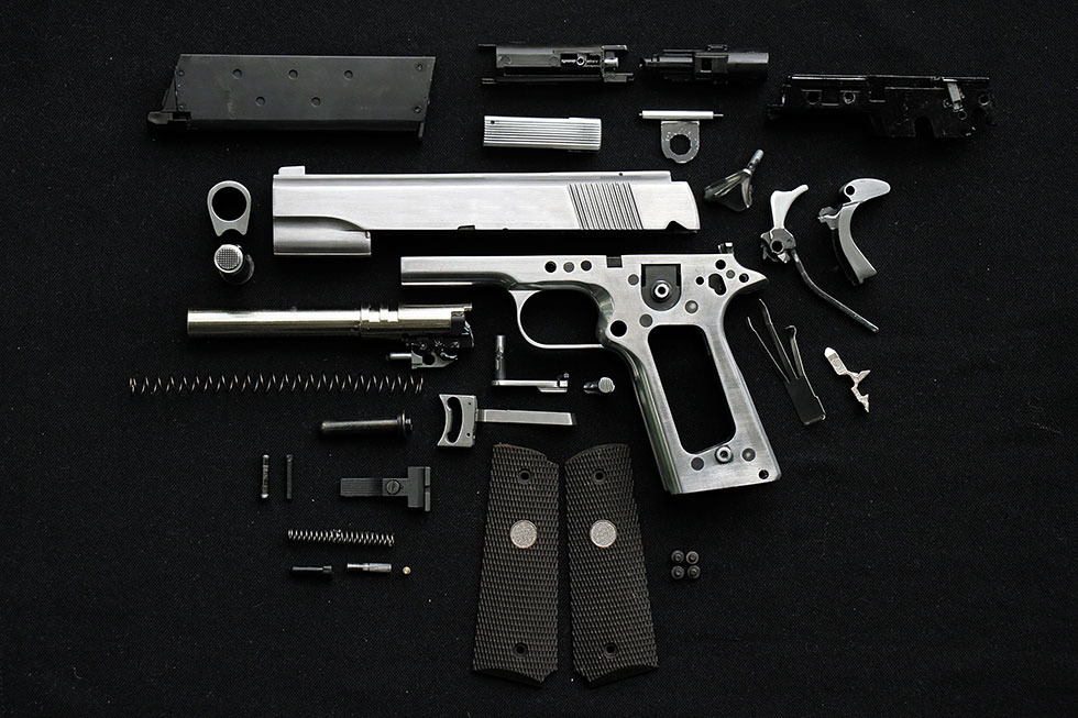 Disassembled handgun