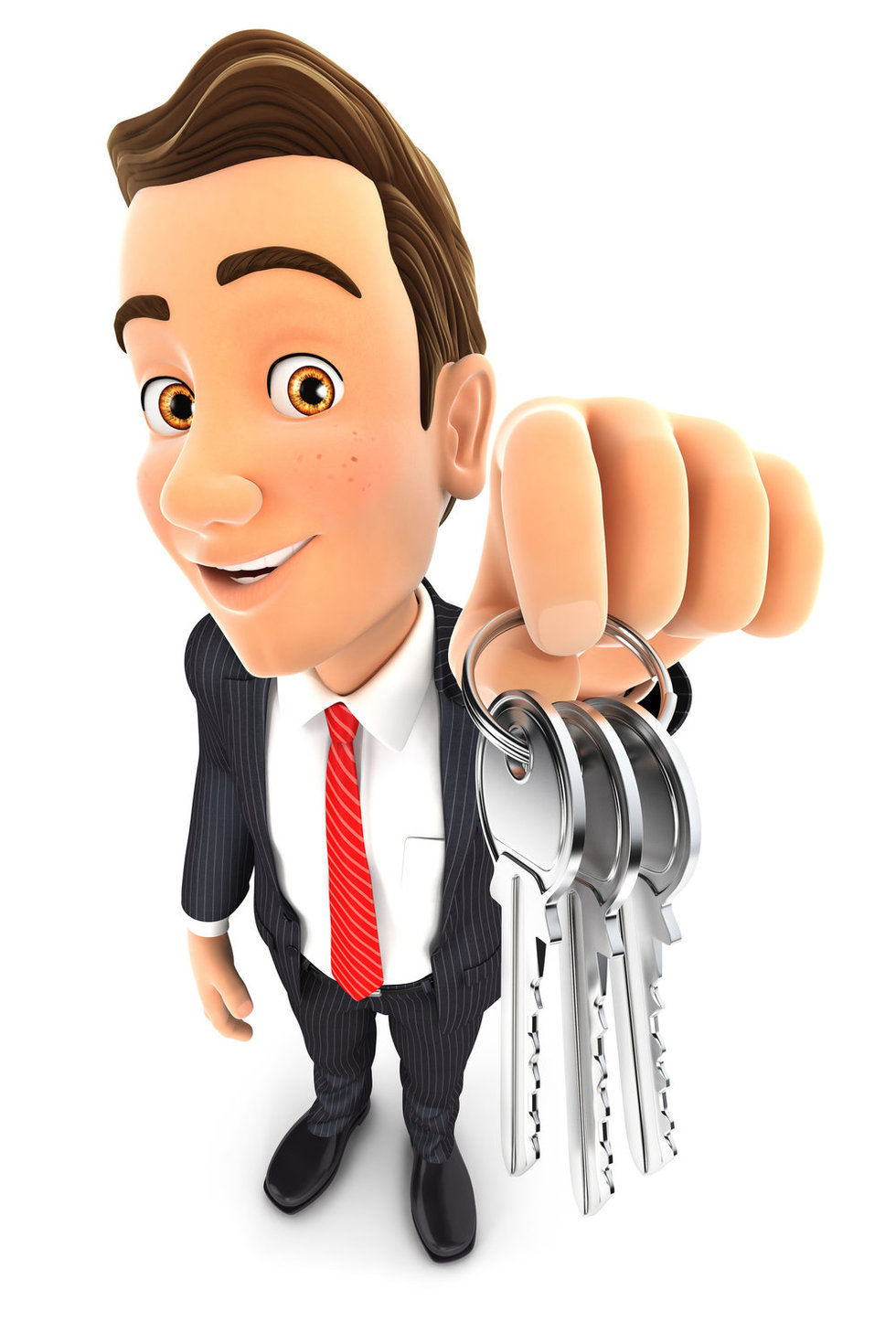 Handing over the keys after a home sale.