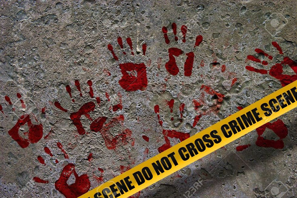 8926234 bloody red palm prints over stone background at crime scene illustrating crime scene concept stock photo