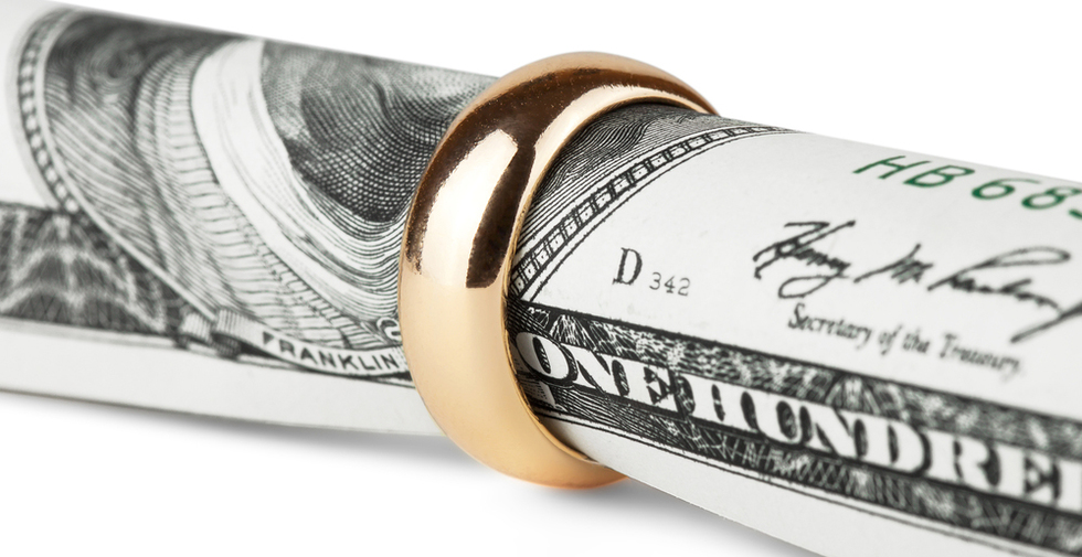 money with wedding ring