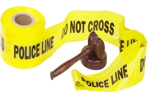 police tape and gavel