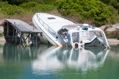 crashed boat