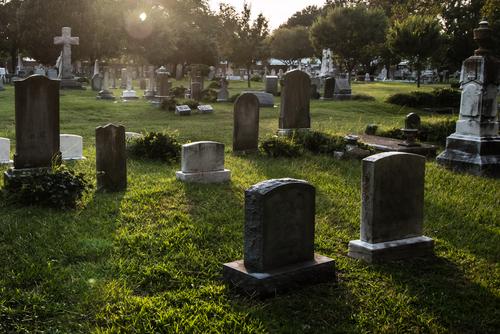 Cemetery at dusk
