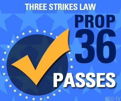 proposition 36 Proposition 36, also titled a change in the three strikes law initiative, was a california ballot measure that was passed in november 2012 to modify california's three strikes law (passed in 1994.