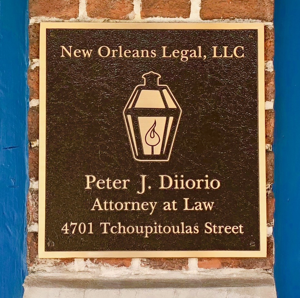 Outdoor Bronze Plaque Sign with Lantern Logo of New Orleans Legal LLC and Attorney Peter J. Diiorio