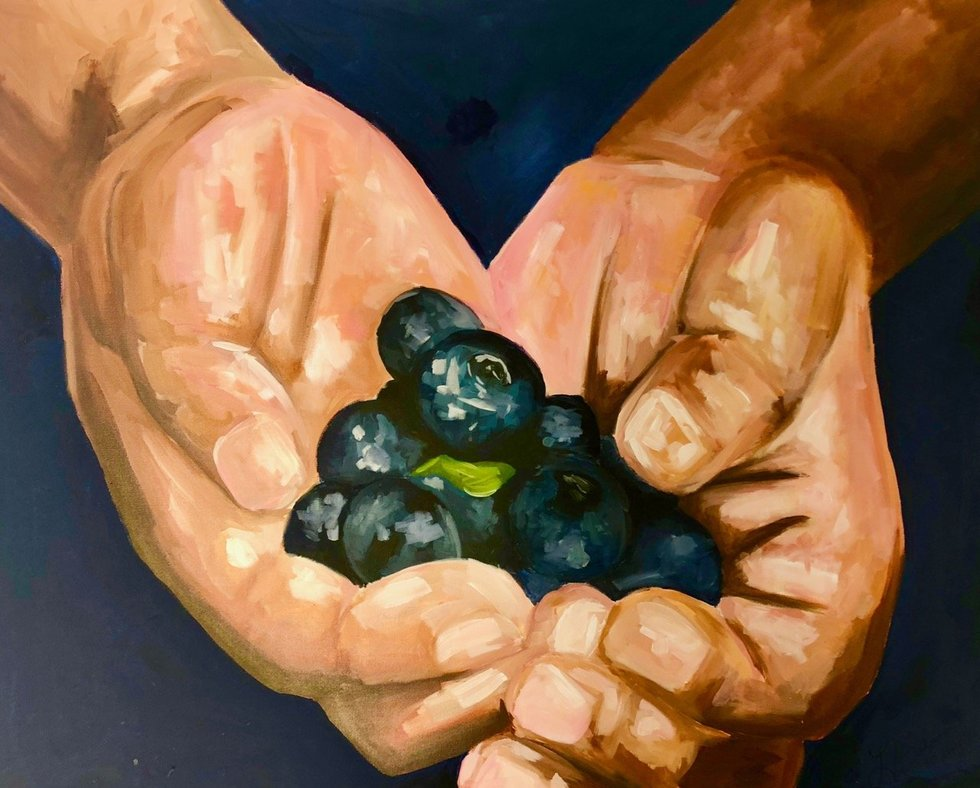 Blue painting of helping hands holding blueberries at New Orleans Legal LLC and Attorney Peter J. Diiorio