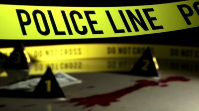 Stock footage crime investigation police dividing line yellow tape bloodstains