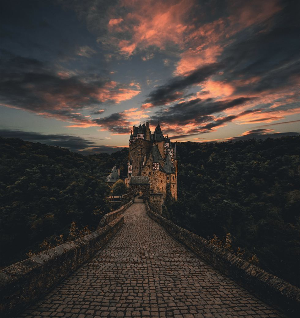 Road to castle at sunset
