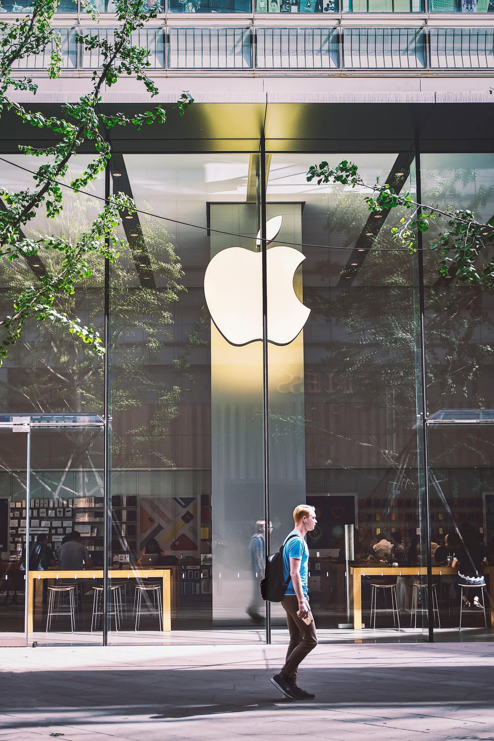 Man in Front of Apple Store