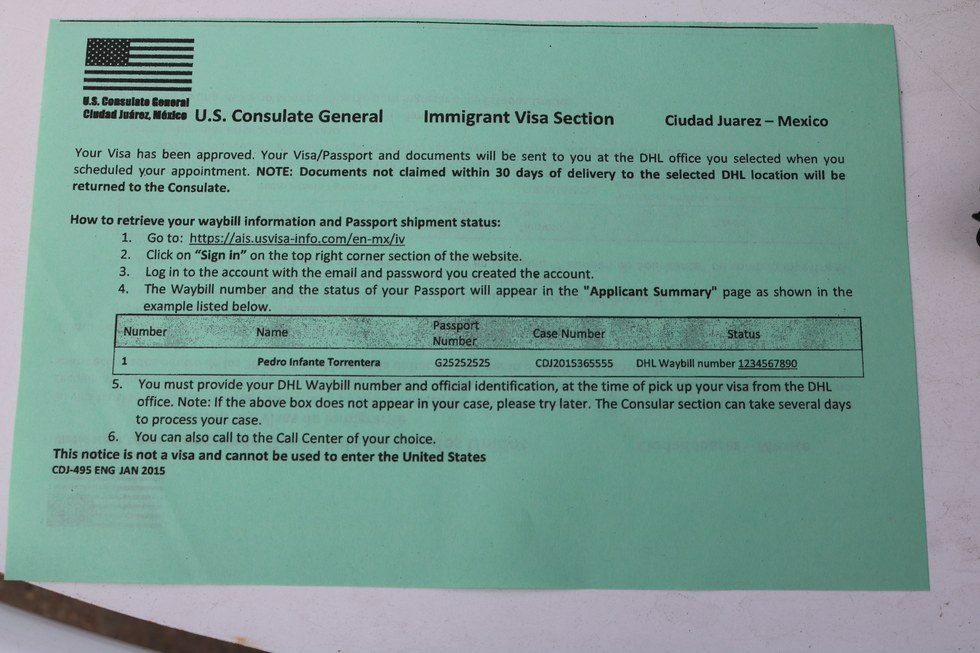 Consular Processing - From the U S , to Ciudad Juarez, and