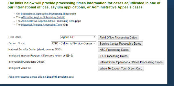 lower portion of processing times page