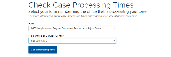 Check Case Processing Times menu