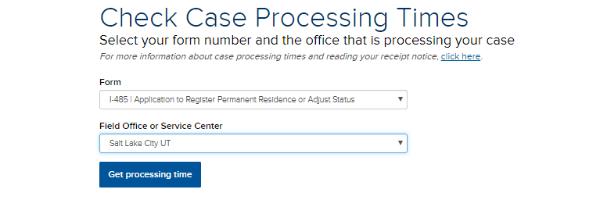 Check Case Processing Times menu