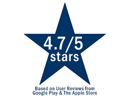 4.7/5 star-rating basedf on user reviews from the Google Play and Apple Store.