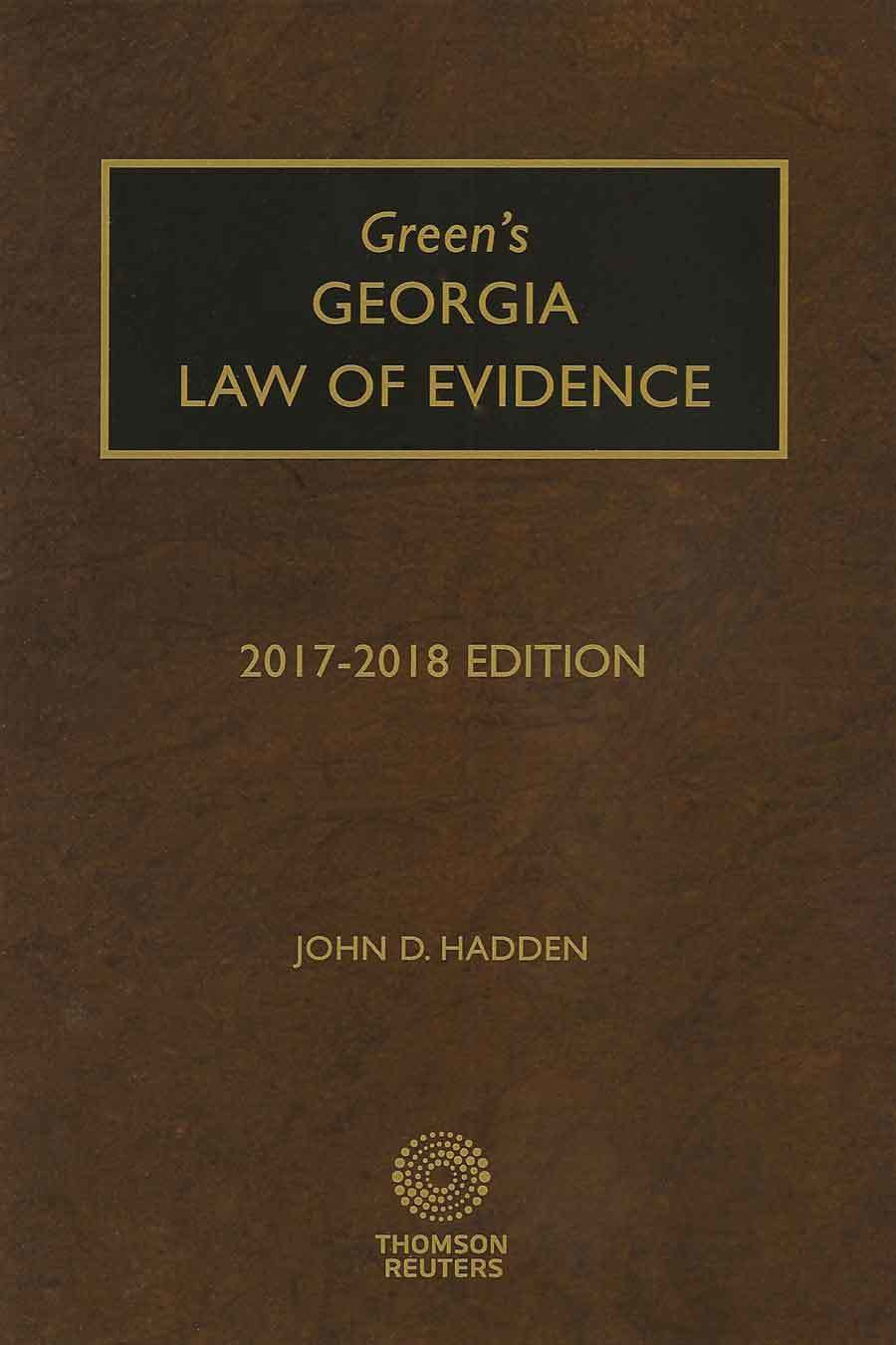 Cover of 2017-2018 edition of Georgia Law of Evidence by John Hadden
