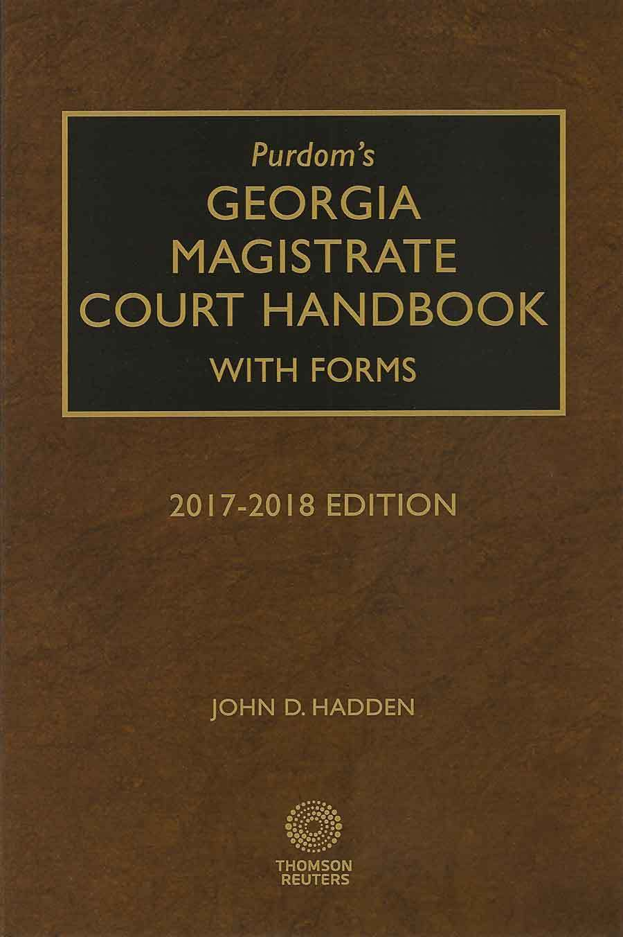 Cover of 2017-2018 edition of Georgia Magistrate Court Handbook by John Hadden