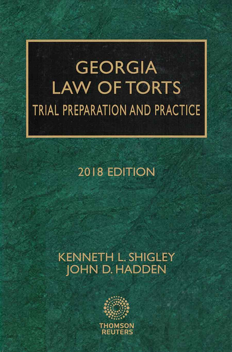 Georgia Law of Torts 2018 edition