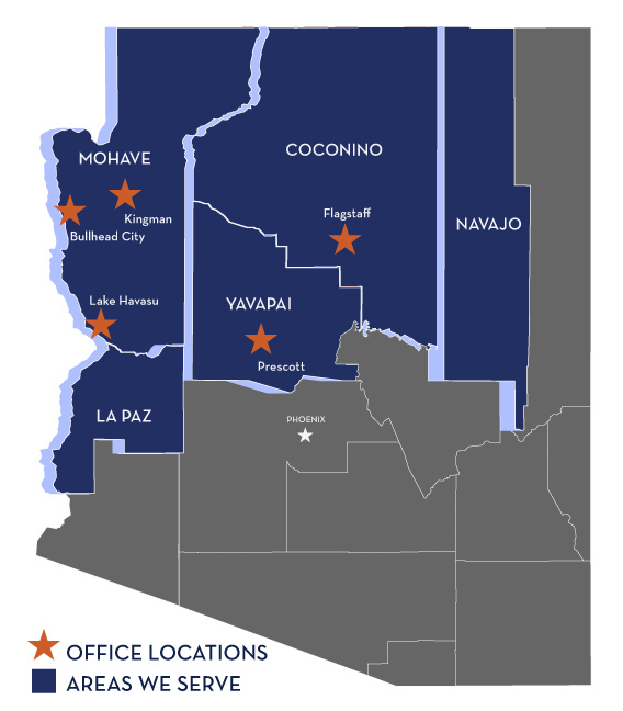 Map Of Arizona Bullhead City.Areas We Serve In Northern Arizona The Law Offices Of Shawn B Hamp