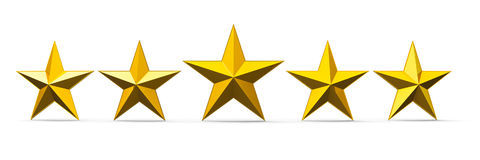 Gold stars five golden rating isolated white background three dimensional rendering d illustration 95436051