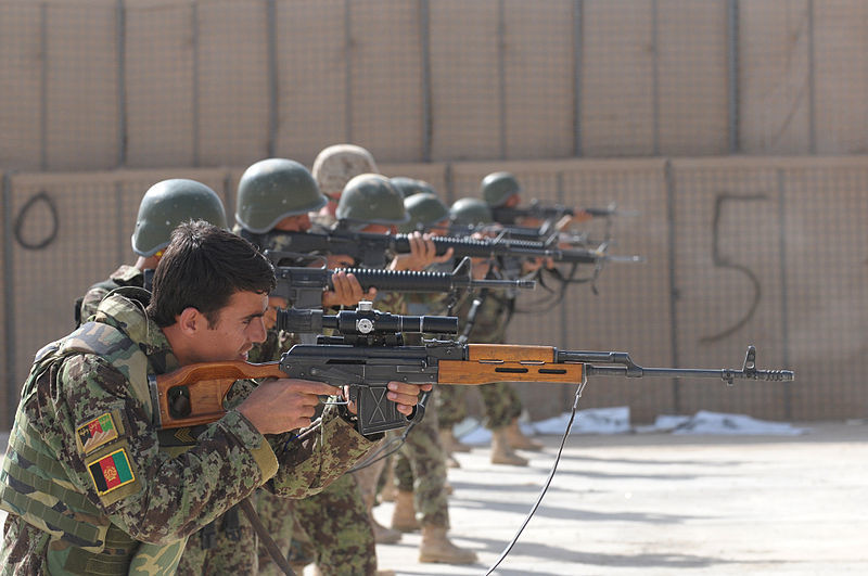 Afghan national army and us marines training