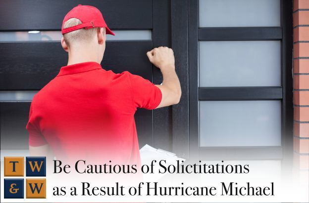 be cautious of solicitations with financial incentive after hurricane michael