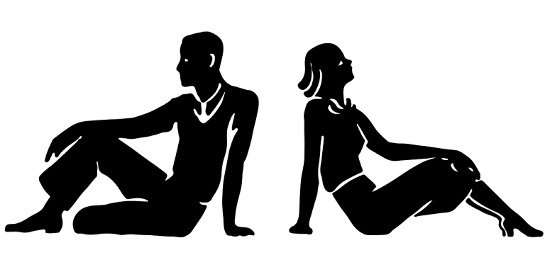 Drawing of man and woman sitting, facing away from each other.