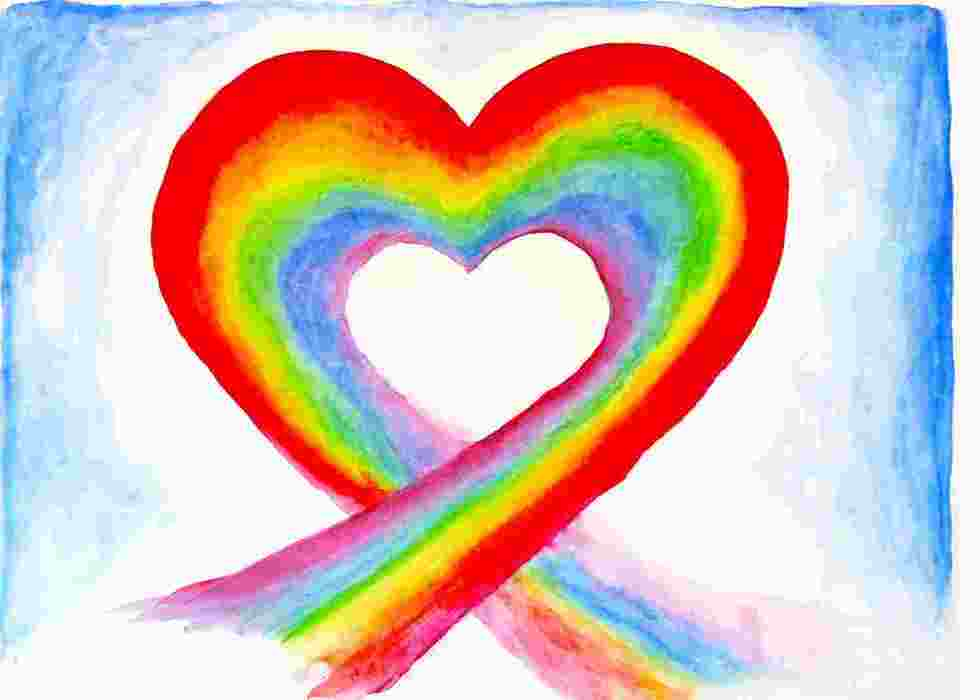 Colorful drawing of LGBT rainbow heart.