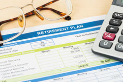 Stock photo retirement plan with glasses and calculator document is mock up 273062174