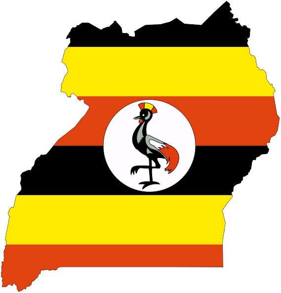 Flag map of uganda svg