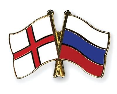 Flag pins england russia