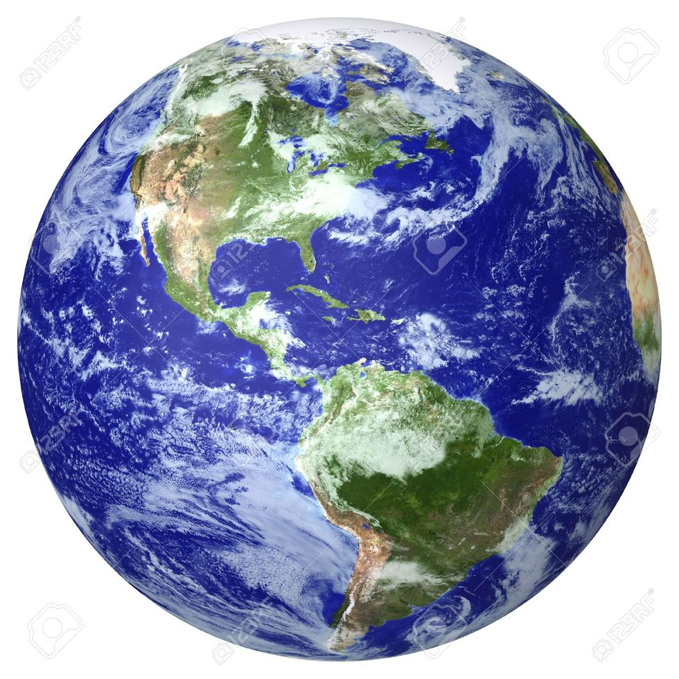 12464077 earth globe cloud map side of the north and south america stock photo