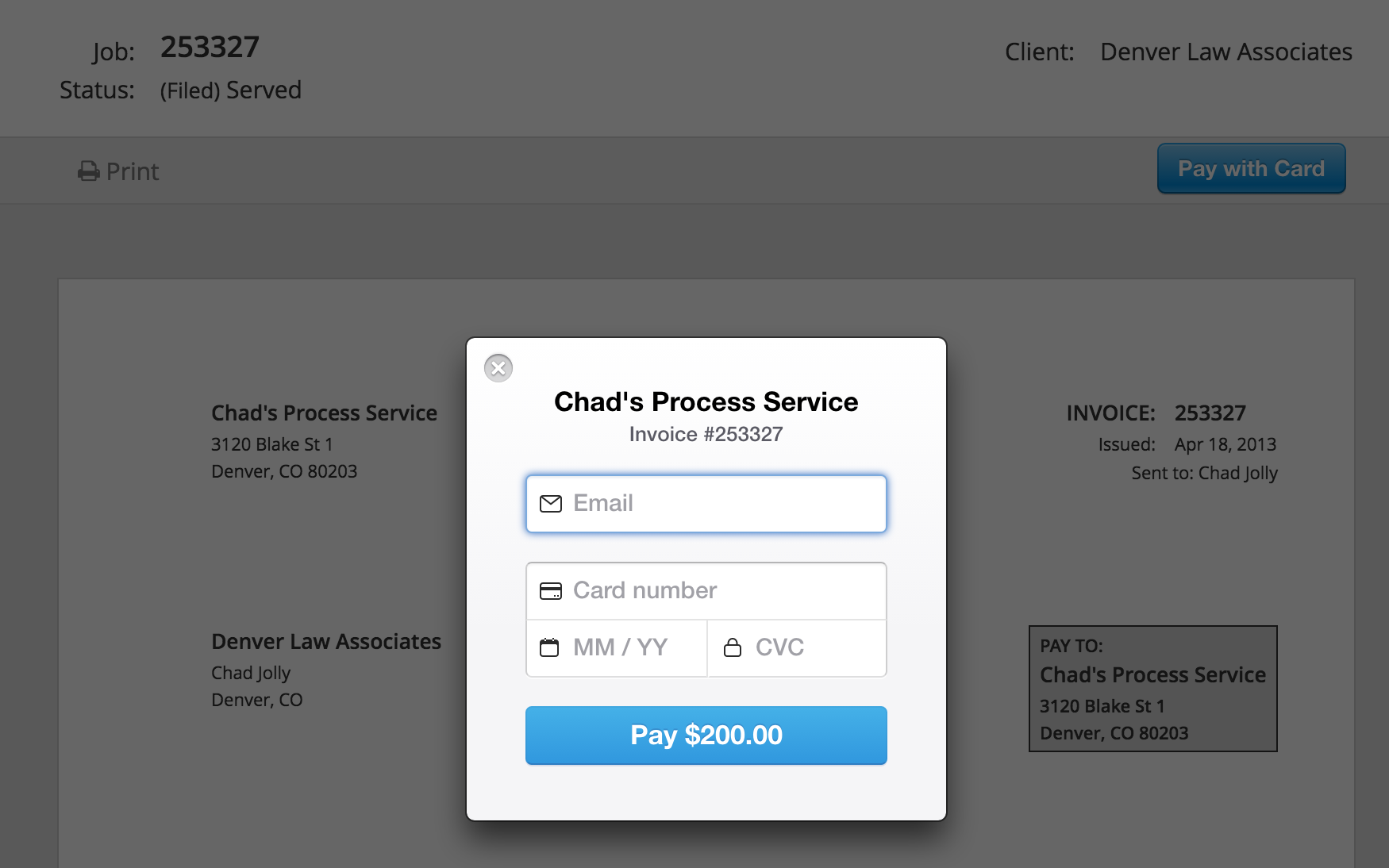 ServeManager invoice with credit card fields