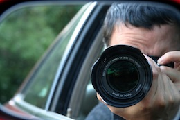 Private investigator conducting surveillance
