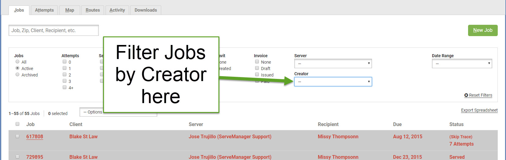 Click Creator to Filter your Jobs