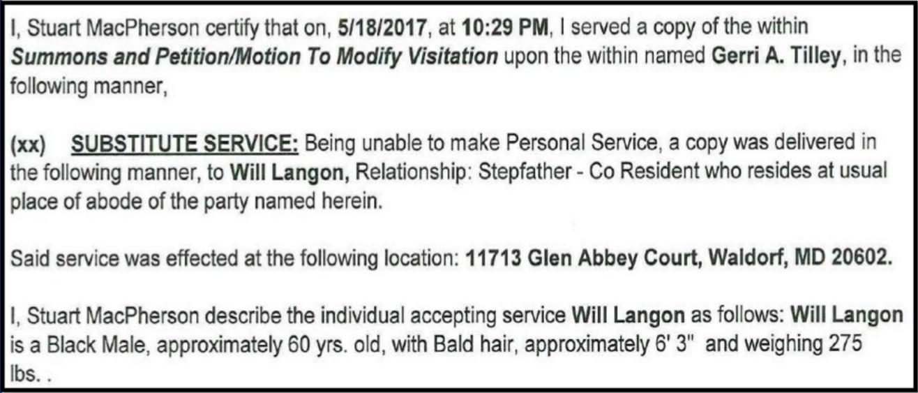 Substitute Personal Affidavit